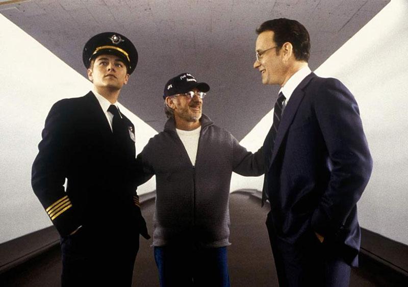 Steven Spielberg con Leonardo DiCaprio y Tom Hanks en el rodaje de Catch me if you can