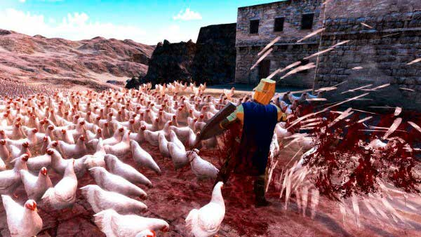 Un caballero medieval luchando contra un ejército de gallinas en Ultimate Epic Battle Simulator