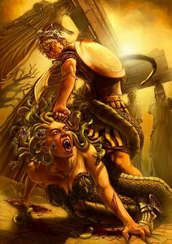 La batalla entre Perseo y Medusa
