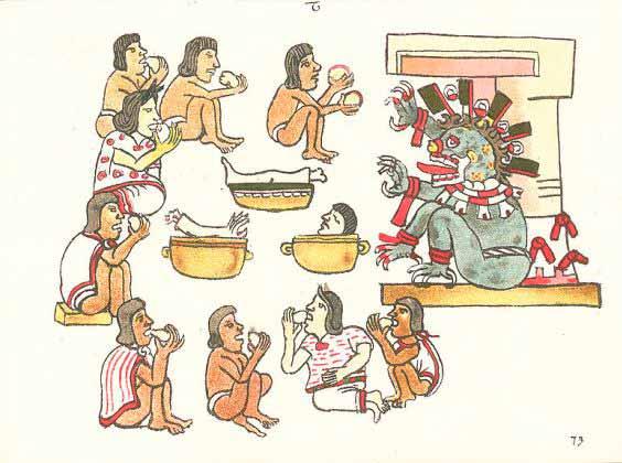 Reproducción de talla en piedra del cocinado del pozole en la cultura azteca
