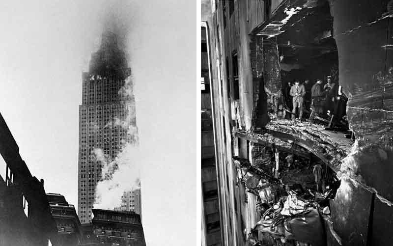 Daños en el rascacielos tras la colisión del bombardero B25 en 1945