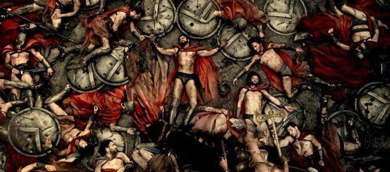 Escena final de la película 300 que describe la batalla de las Termópilas