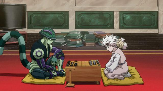 Meruem, el Rey de las hormigas quimera, y Komugi jugando a Gungi en Hunter x Hunter
