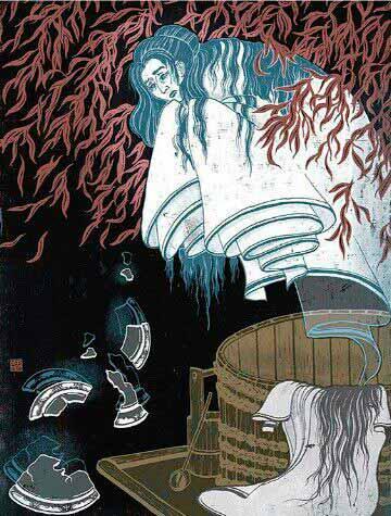 Ilustración del fantasma de Okiku, inspiración para El Aro