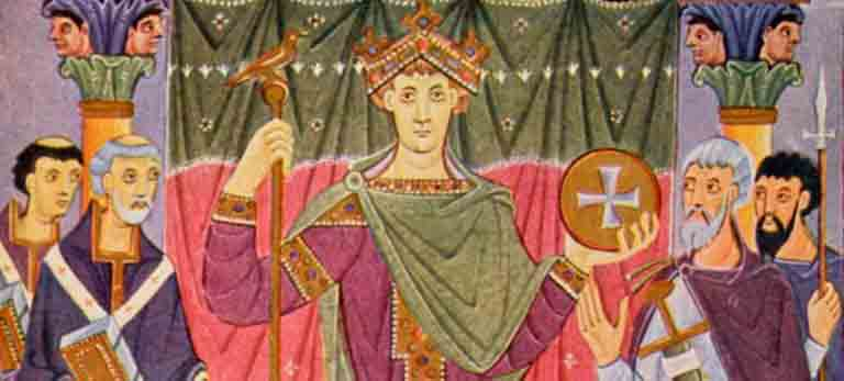 Ilustración de la coronación de Otón I en el nacimiento del Sacro Imperio Romano Germánico