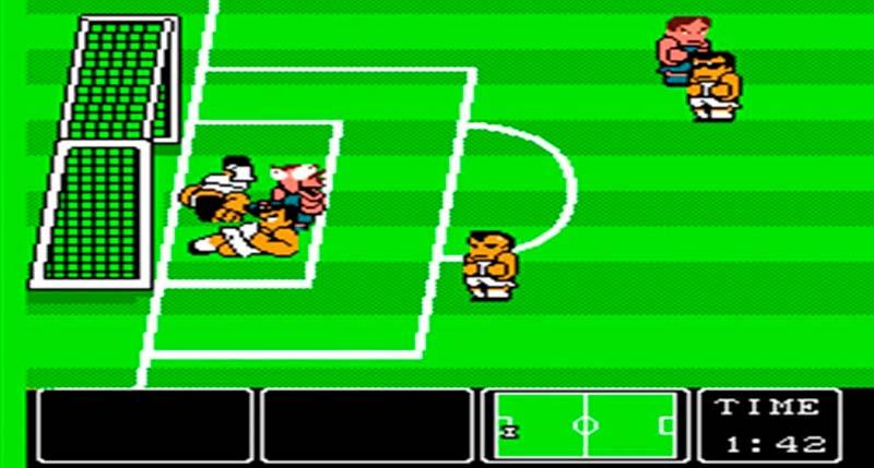 Pantalla del videojuego Nintendo World Cup de 1990