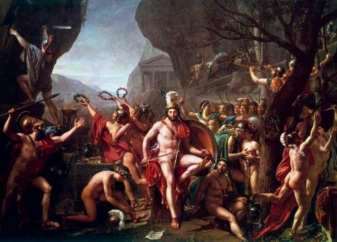 Pintura de David Jacques-Louis de 1814 de la batalla de las Termópilas
