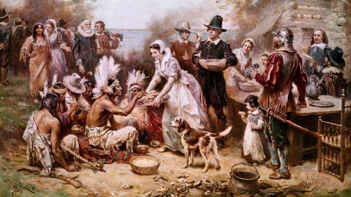 Representación de la fiesta de celebración del tratado de paz entre nativos y colonos