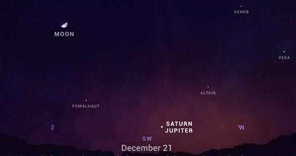 Ubicación de la conjunción planetaria el 21 de diciembre de 2020