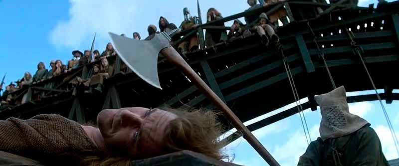 Escena de la muerte de William Wallace en Braveheart