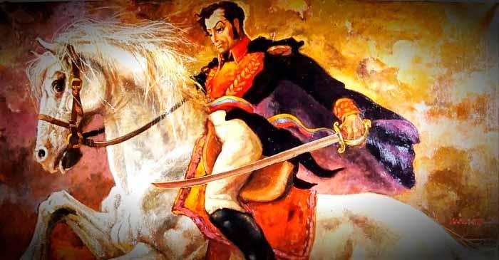 Ilustración de Simón Bolívar sobre Palomo