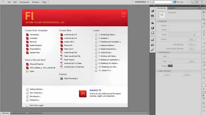 Pantalla de Adobe Flash CS6