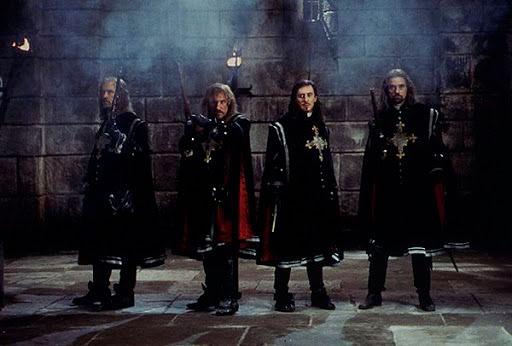 Los cuatro mosqueteros en una escena de El hombre de la máscara de hierro de 1998