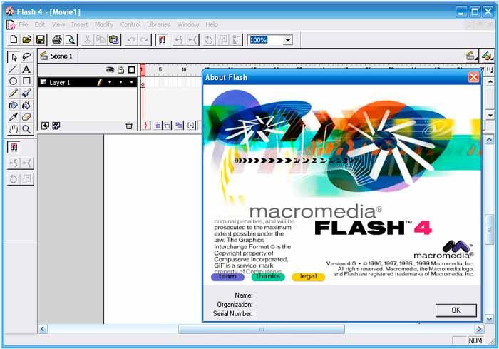 Pantalla de Macromedia Flash