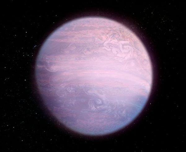 Reproducción de cómo los científicos se imaginan el planeta WASP-107b a partir de sus componentes