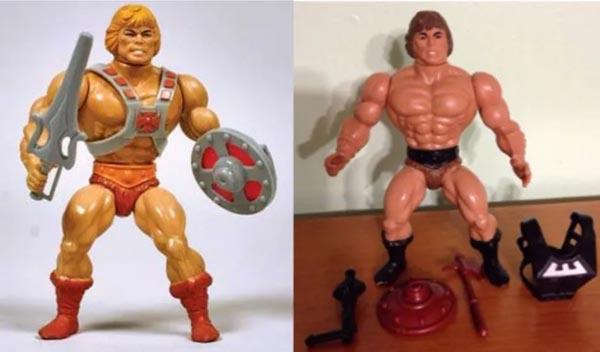 Juguetes de He-Man (izquierda) y Conan (derecha)