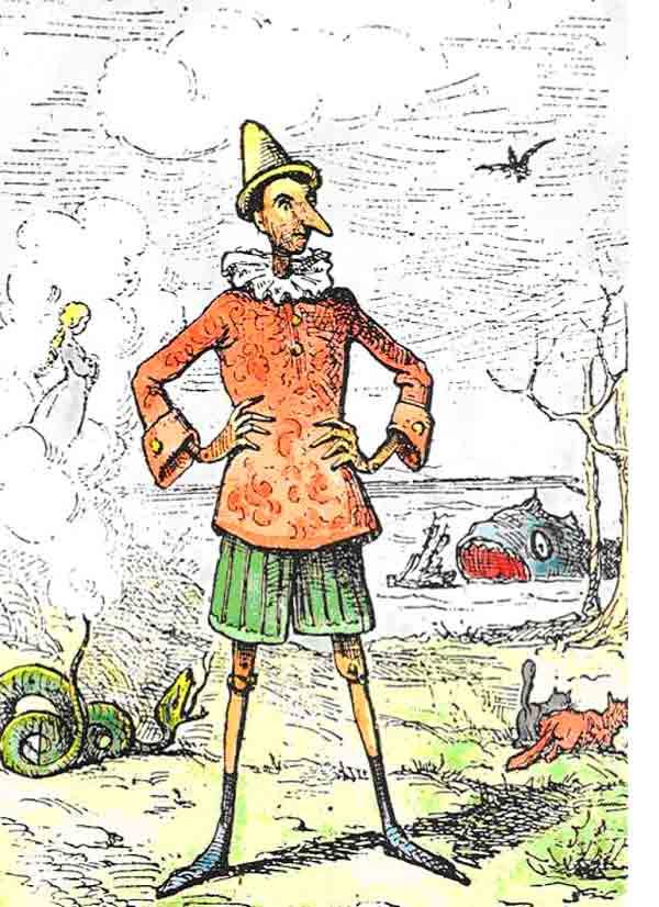 El dibujo original de Pinocho de Carlo Collodi