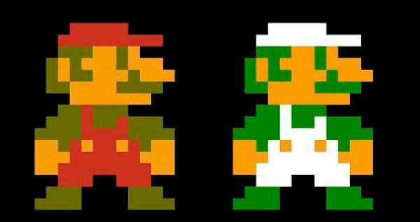 La apariencia de Mario y Luigi en su primera aparición, en Mario Bros.