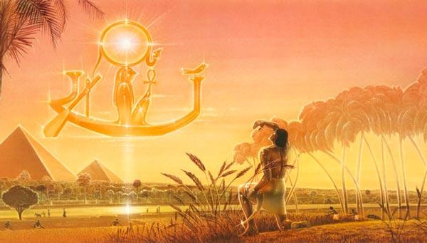 Representación de Ra surcando el cielo en su barca cada día