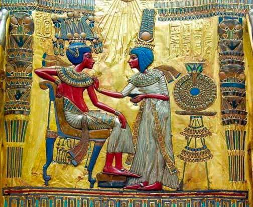 Tutankamón y su esposa Ankhsenamun