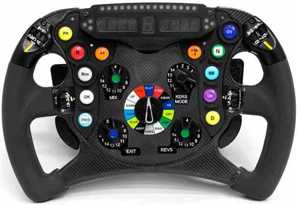 El volante de un coche de Fórmula 1