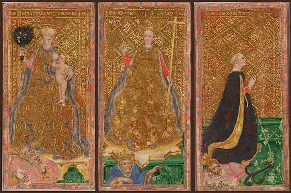Cartas de la baraja diseñada para la familia Visconti Sforza
