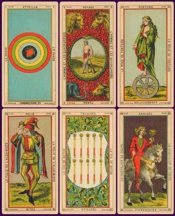 Cartas de la primera baraja de Tarot con fines adivinatorios, creada por Jean-Baptiste Alliette
