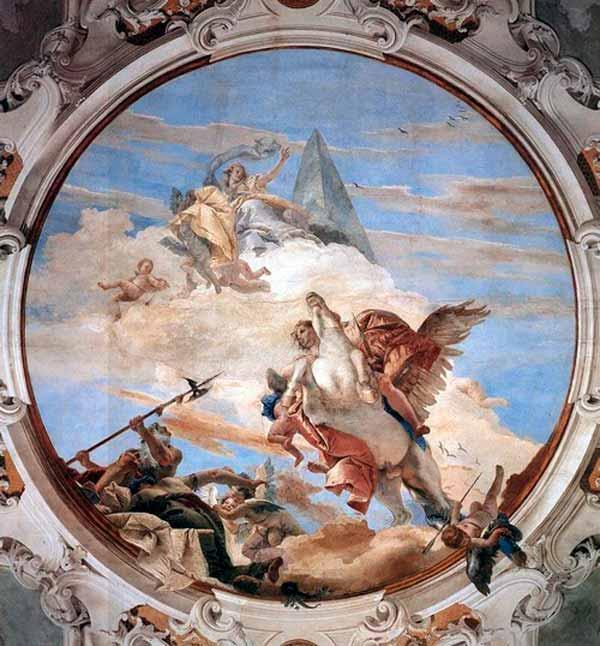Pintura de Giovanni Tiepolo de Belerofonte intentando entrar al Monte Olimpo