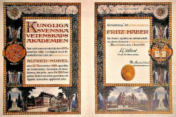 Diploma entregado con el Premio Nobel