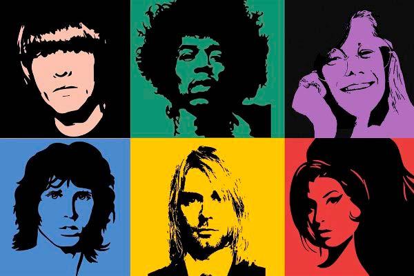 Representación artística de los miembros principales del Club de los 27. Brian Jones, Jimi Hendrix, Janis Joplin, Jim Morrison, Kurt Cobain y Amy Winehouse.