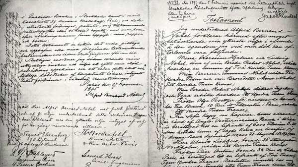 El testamento original de Alfred Nobel
