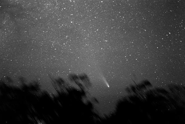 Fotografía del paso del cometa Halley en 1986