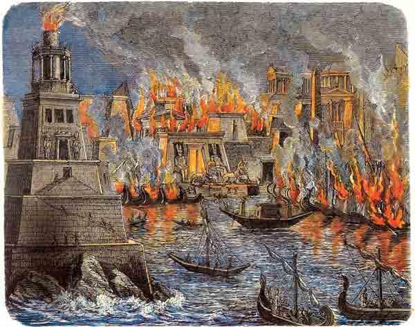 Ilustración de la quema de la Biblioteca de Alejandría por Julio César