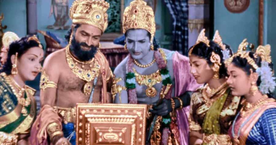 Escena de la película mitológica Mayabazar de 1957