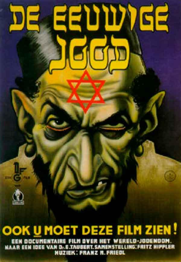 Ejemplo de propaganda nazi tratando de desacreditar y promover el odio hacia los judíos