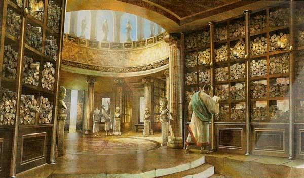 Reconstrucción del interior de la Biblioteca de Alejandría