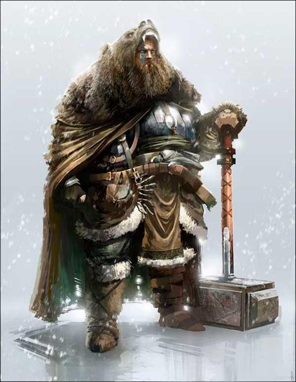 Ilustración de un guerrero berserker