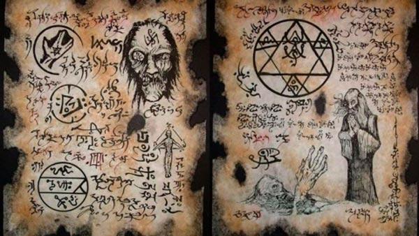 Representación de un libro de magia negra
