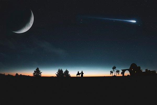 Representación del paso del cometa Halley