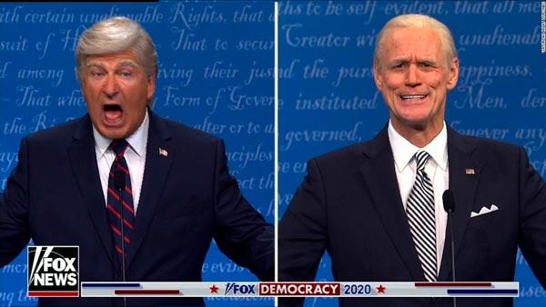 Alec Baldwin y Jim Carrey como Donald Trump y Joe Biden, en Saturday Night Live