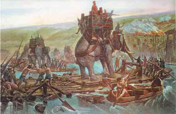 Ilustración de Aníbal cruzando el Ródano con su ejército y sus elefantes