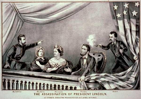 Ilustración del asesinato de Abrahamn Lincoln, con el presidente, su esposa, Henry Rathbone y su prometida