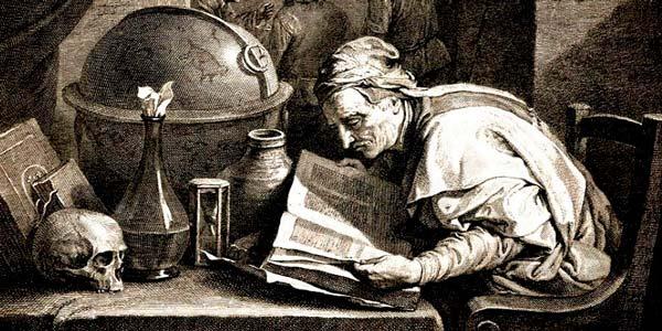Ilustración de Cagliostro haciendo alquimia