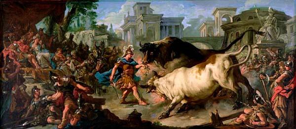 Pintura de Jasón luchando contra los toros de Aietes del artista Jean François de Troy