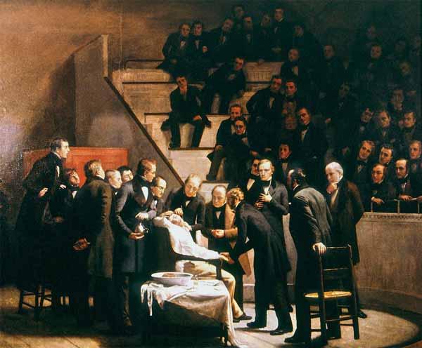 Pintura de Robert Hinckley que ilustra la considerada primera cirugía con anestesia en la historia, a partir de la solución de éter de William Morton en 1846