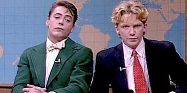 Robert Downey Jr. y Anthony Michael Hall en Saturday Night Live, años 80