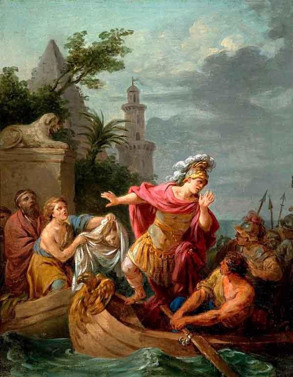 Pintura El Remordimiento de Louis Jean Lagrenée que ilustra esta historia