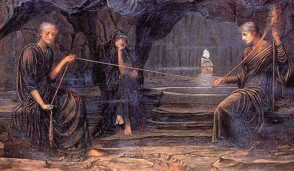 Obra de John Strudwick de 1885, Las Hilanderas