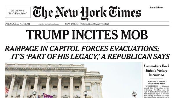 Portada de The New York Times tras el asalto al Capitolio de Estados Unidos