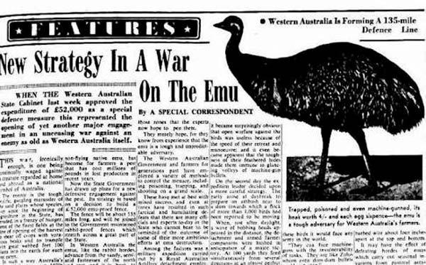 Titulares en prensa de la Guerra del Emú